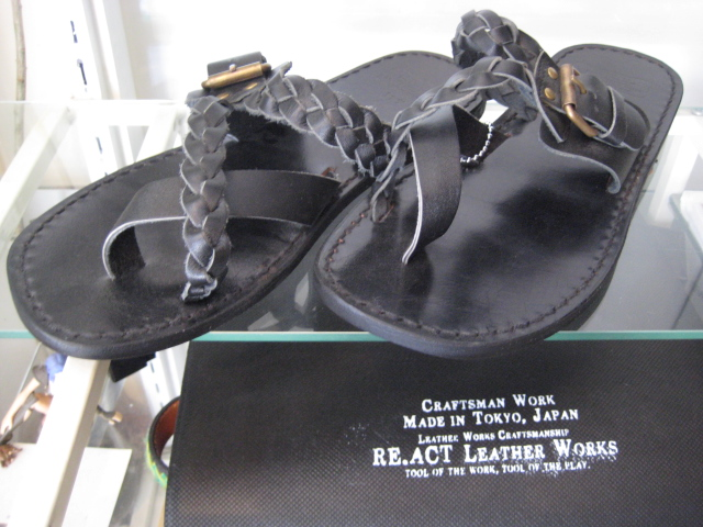 Re.ACT//LEATHER SANDAL(177)☆BLACKxBLACK