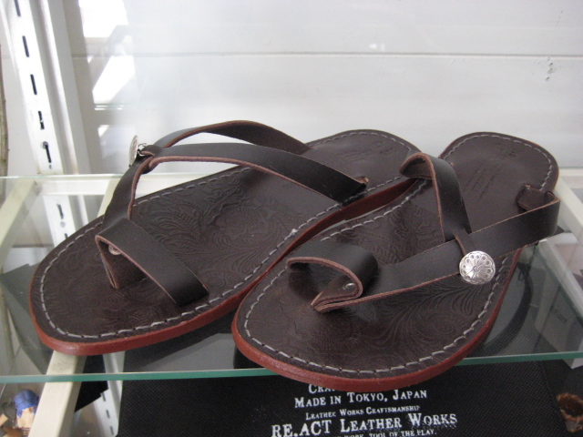 Re.ACT//LEATHER SANDAL(165)☆D,BROWNxBROWN