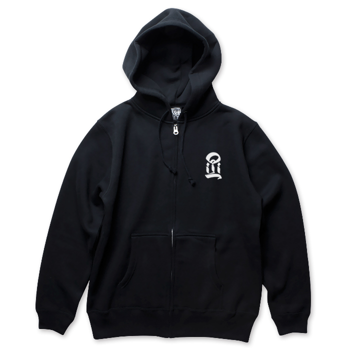 USUGROW / I BLACK ZIP UP HOODIE