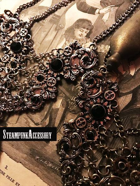 Steampunk accessory Gear 歯車と編み上げのネックレス