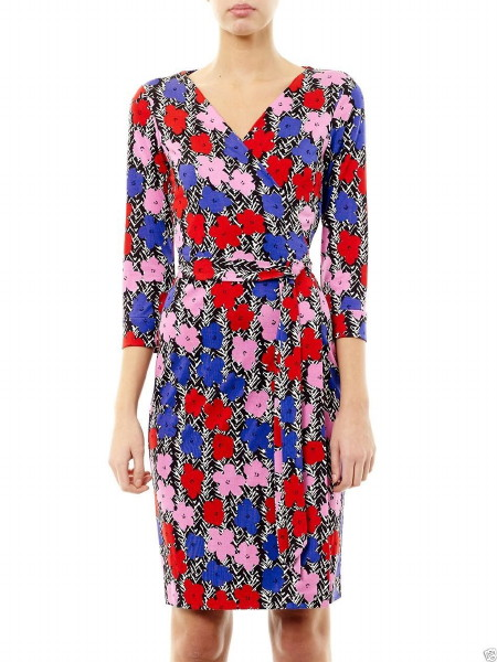 限定モデル!【ニッキーヒルトン愛用】Diane von Furstenberg NEW JULIAN TWO POP Limited Edition Wrap Dress  FLORAL BRUSHMARKS DEEP LILAC