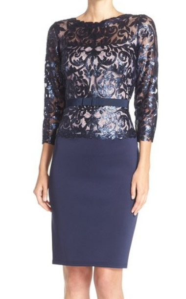 Tadashi Shoji      Sequin Lace & Neoprene Mock Two-Piece Dress
