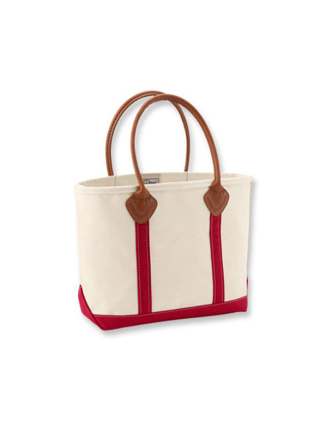 L.L.Bean boat Leather Handle Boat and Tote(Irregular) RED