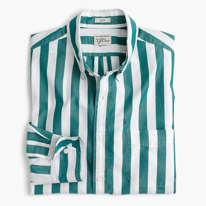 J.CREW slim secret wash shirt in thick stripe(L)