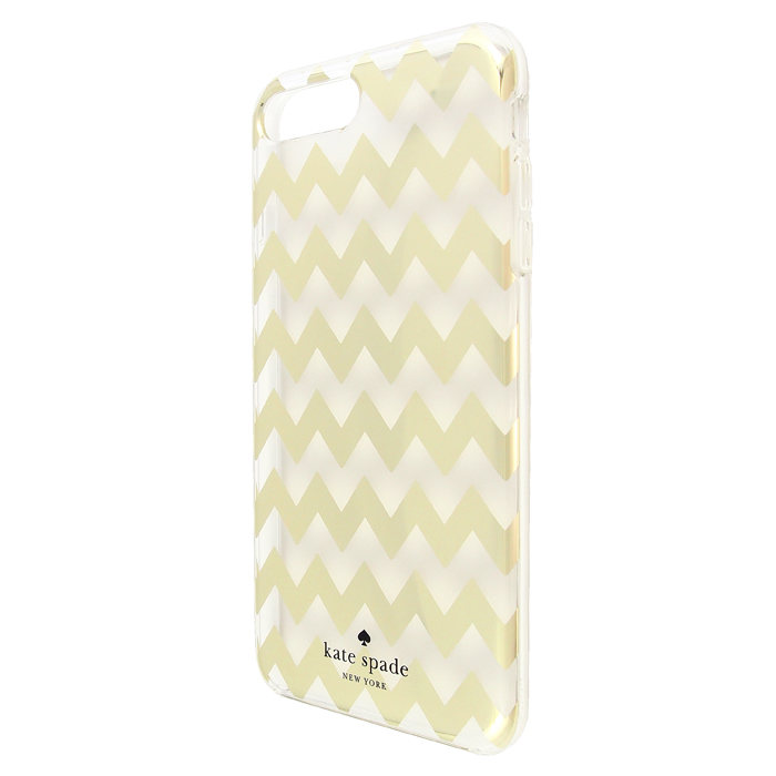 kate spade new york protective hardshell case for iPhone 6 PLUS / 7 PLUS / 8 PLUS CHEVRON GOLD FOIL / CLEAR