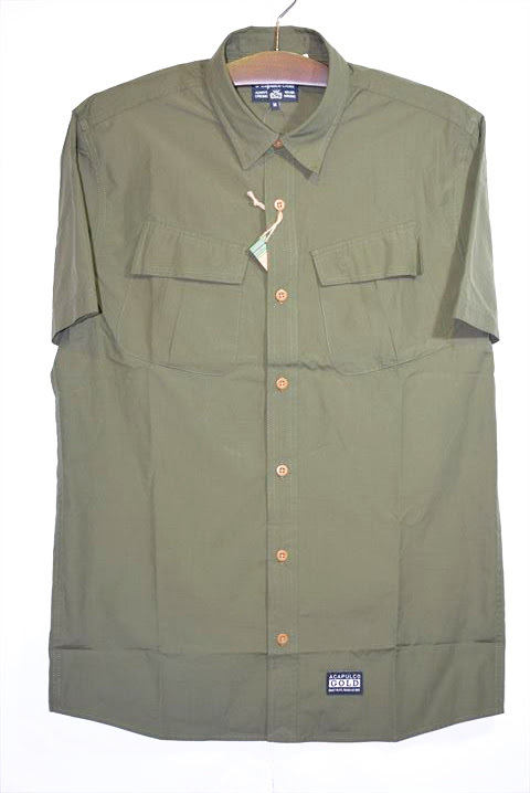Acapulco Gold (アカプルコゴールド) Military S/S Field Shirt Olive ミリタリー ワーク シャツ