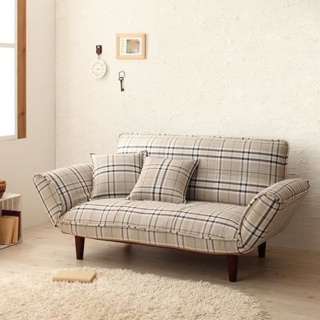 *Checked Reclining Sofa [2P]