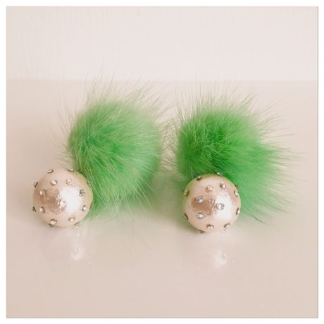 dot pearl &mink 2way earrings