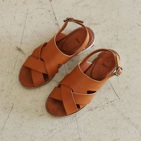 random cross leather sandal