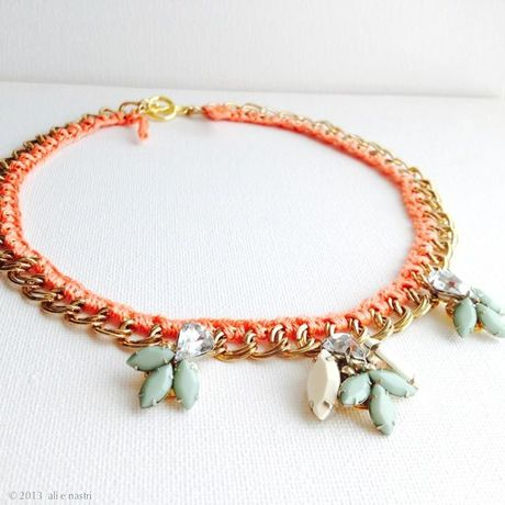 FrenchYarn Woven Chain & Jewels Necklace (CORAL×MINT)