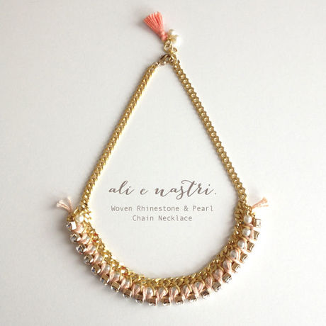 Woven Rhinestone & Pearl Chain Necklace(PINK/G)