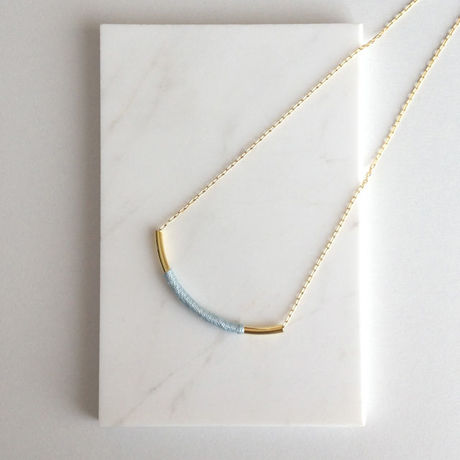 French Embroidery Thread Wrapped Tube Necklace(ICE BLUE)