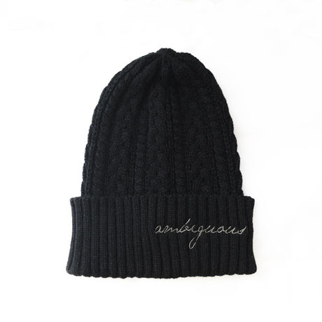 Beanie [ ambiguous ] BLK×C.GRY ニットキャップ黒/チャコールグレー刺繍
