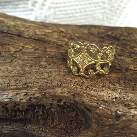 【Clare】 Brass Filigree Ring