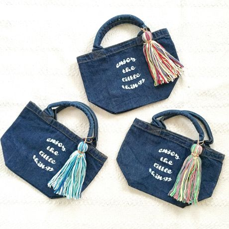 【Clare】 Big knit tassel mini tote