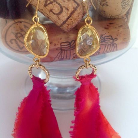 Silk ribon long earring