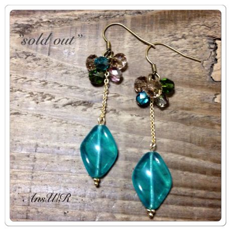 【sold out】Greenリーフピアス