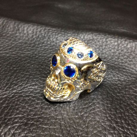 Pinstripe Skull Ring k18GP