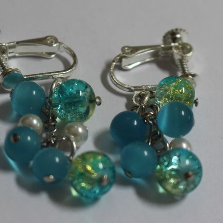 Marble blue earrings
