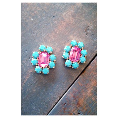 pink & turquoise blue earrings