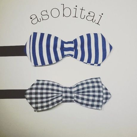Stripe and Check bow tie