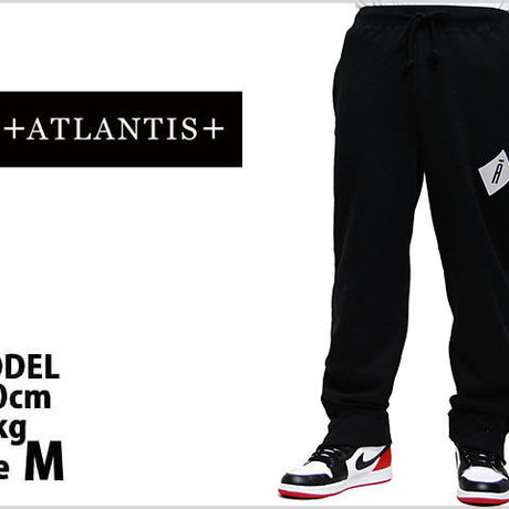 A LOGO SWEAT PANTS SIDE ZIP BLACK