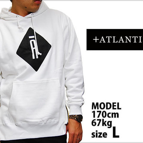 ATLANTIS A LOGO PULLOVER HOODIE SIDE ZIP WHITE