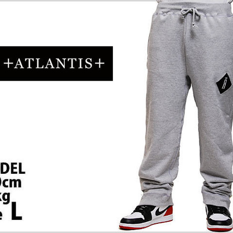 ATLANTIS A LOGO SWEAT PANTS SIDE ZIP GRAY