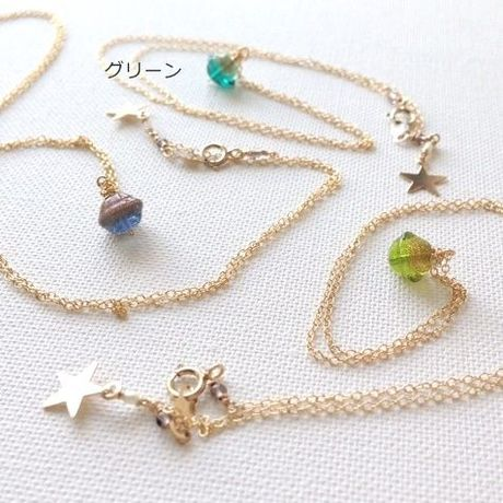 14kgf  小さな惑星 planet necklace(グリーン)