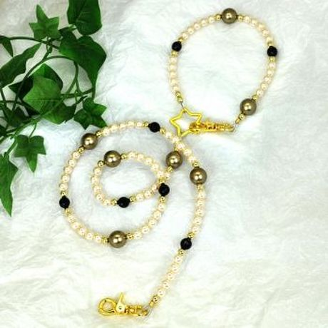 【L'ange】 ビーズリード&ネックレス高級2点セット 【gold pearl desing】 Beads Leash & Necklace Collection