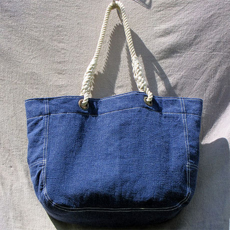 Vtg Denim Tote Bag
