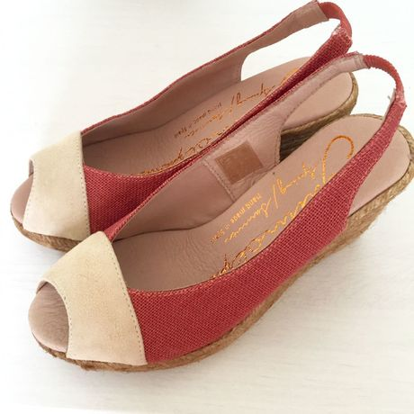 【GAIMO】【Handmade】 Leather Linen Wedge Sandal レザー×リネンウェッジサンダル【MadeinSPAIN】RED