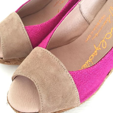 【GAIMO】【Handmade】 Leather Linen Wedge Sandal レザー×リネンウェッジサンダル【MadeinSPAIN】PINK