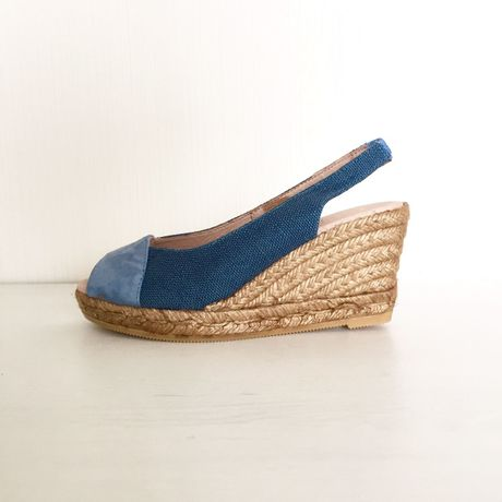 【GAIMO】【Handmade】 Leather Linen Wedge Sandal レザー×リネンウェッジサンダル【MadeinSPAIN】BLUE