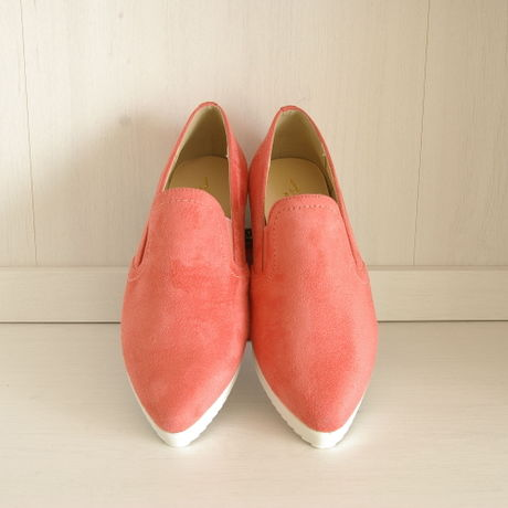 Pointed Slip-on Shoes ポインテッドスリッポン【Coralpink】【LemonYellow】【Light Gray】