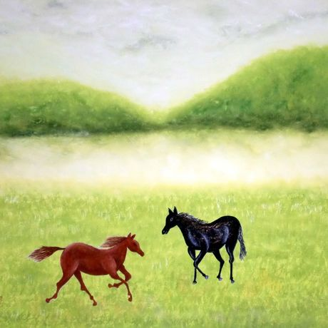 Horses playing on vernal field 春野に遊ぶ