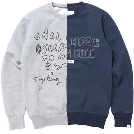 【thisisneverthat】COLD COFFEE CREWNECK(GREY/NAVY)