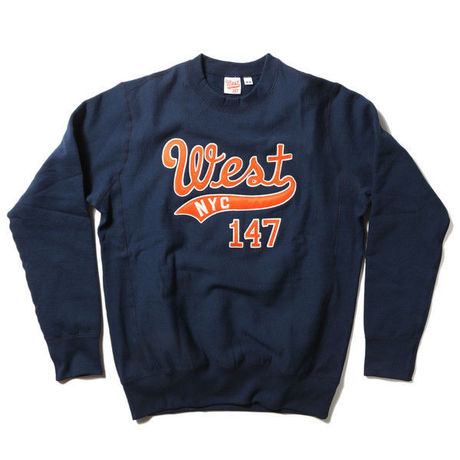 WEST NYC WEST EMBROIDERED CREWNECK - NAVY