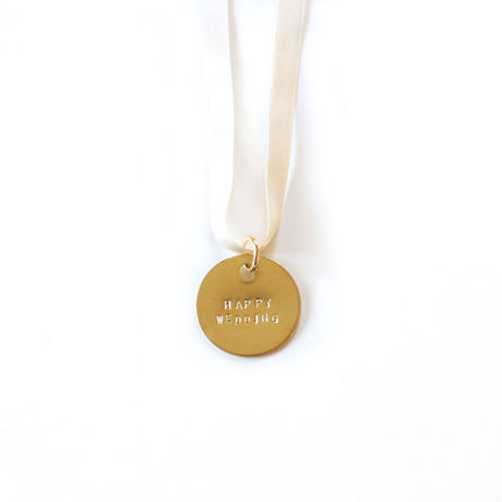 HAPPY  GOLD TAG With WHITE RIBBON