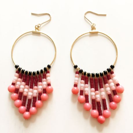 beads & coral pink fringe pierce
