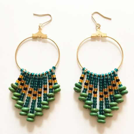 beads fringe pierce green