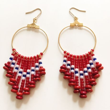 beads fringe pierce red