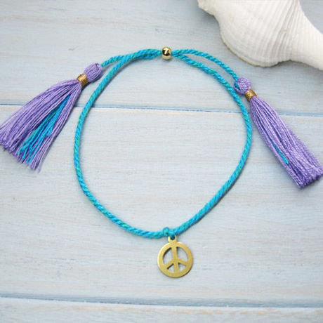 Peacemark Charm Cord Bracelet