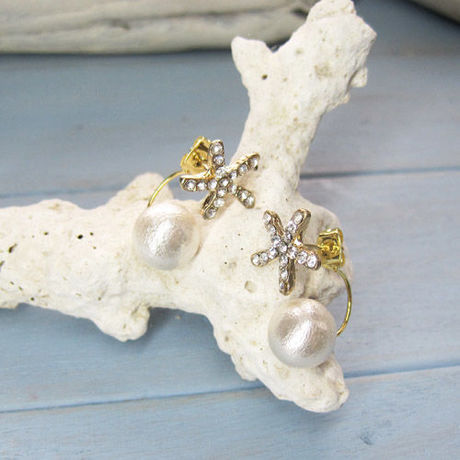 Starfish and Cottonpearl Pierced Earring