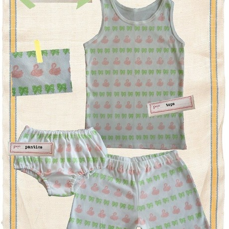 3 piece set (tops&overpant&shorts) swan / kids