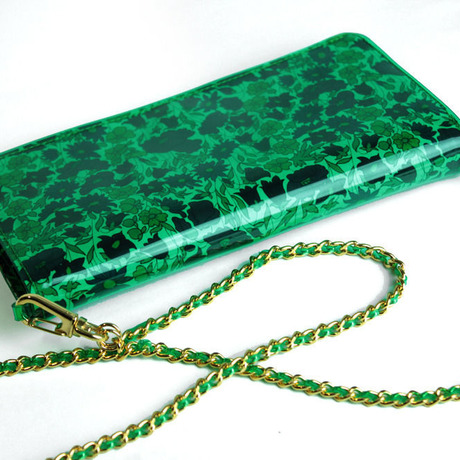 ARIKI WALLET green vinyl liverty print