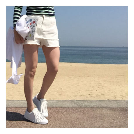 layered  white denim-short pants