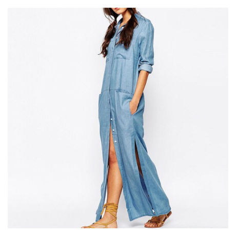 denim  split   long  one-piece