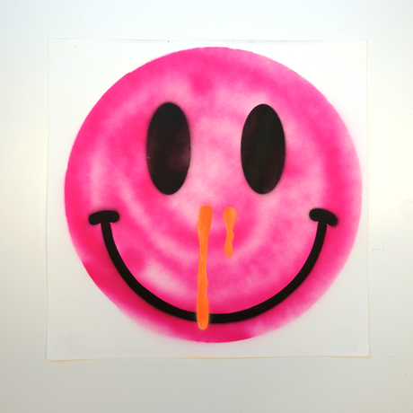 """stencil """"HAPPINESS OVERDOSE"""" by MADSAKI (#001)"""