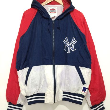 """Felco / Nylon Hooded Jacket size : XL """"NY YANKEES"""""""